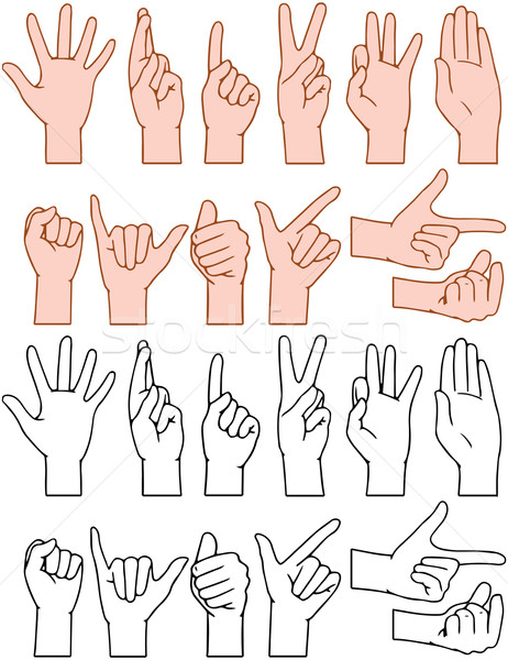 Universal Hand Signs Gestures Stock photo © LironPeer