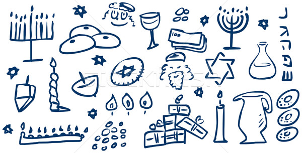 Hanukkah Symbols Doodles Stock photo © LironPeer