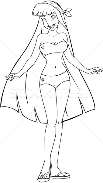Asian Woman In Swimsuit Coloring Page Stock photo © LironPeer