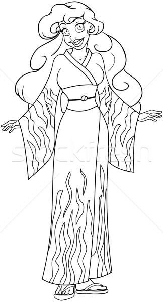 African Woman In Kimono Coloring Page Stock photo © LironPeer
