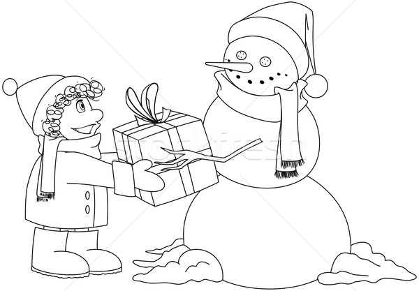 Christmas Snowman Gives Present To Boy Coloring Page Stock photo © LironPeer