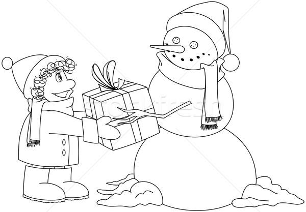 Рождества снеговик настоящее мальчика страница ребенка Сток-фото © LironPeer