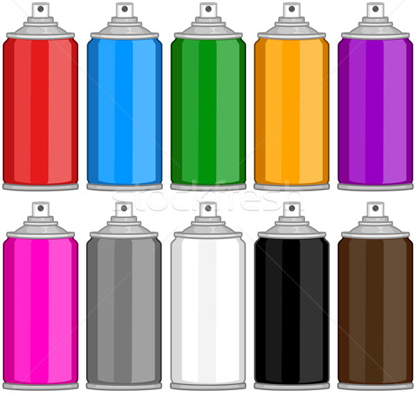 Color Spray Cans In Various Colours Stock photo © LironPeer