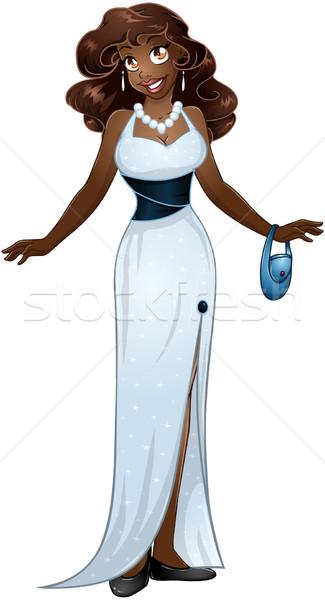 африканских женщину белый вечернее платье девушки ночь Сток-фото © LironPeer