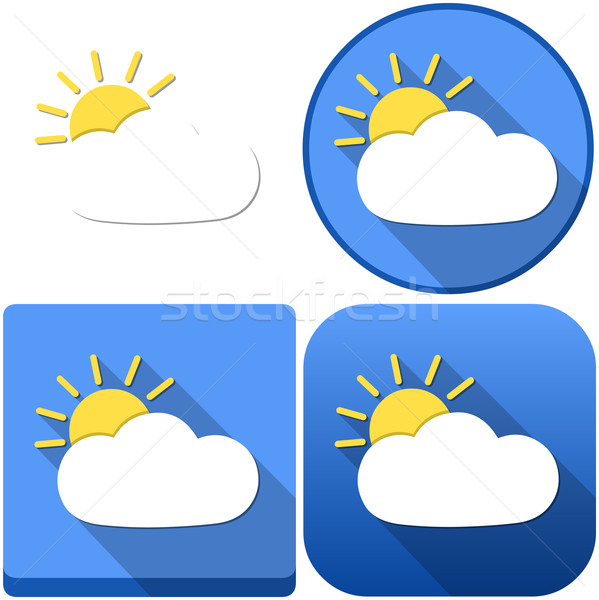 Weather Sun Behind Cloud Icon Pack Stock photo © LironPeer