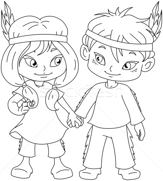 Indian Boy And Girl Holding Hands For Thanksgiving Coloring Page Stock photo © LironPeer