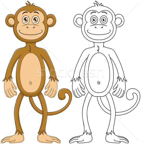 Cute Monkey With Lineart Stock photo © LironPeer