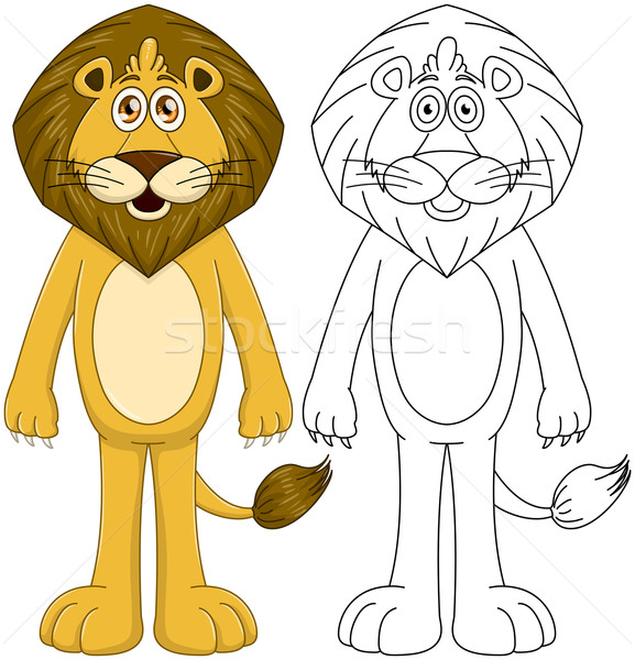 Cute Humanoid Lion With Lineart Stock photo © LironPeer