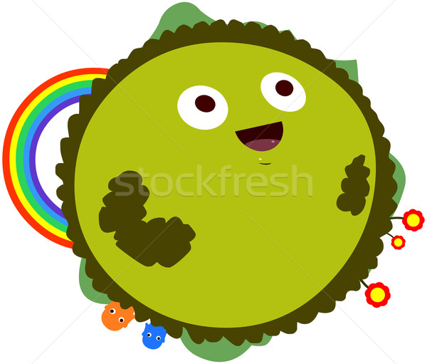 Happy Green Planet With Rainbow Stock photo © LironPeer
