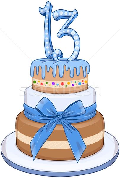 Kék bár torta születésnap padlók szám Stock fotó © LironPeer