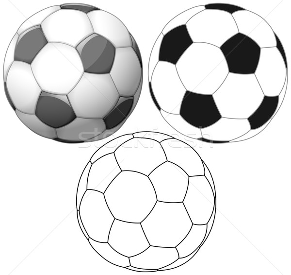 Soccer Ball Color Flat And Ink Pack Stock photo © LironPeer