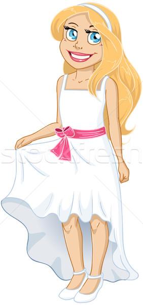довольно девушки белое платье лук женщину Сток-фото © LironPeer