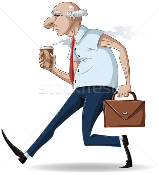 Old Businessman Walks with Briefcase and Coffee Stock photo © LironPeer