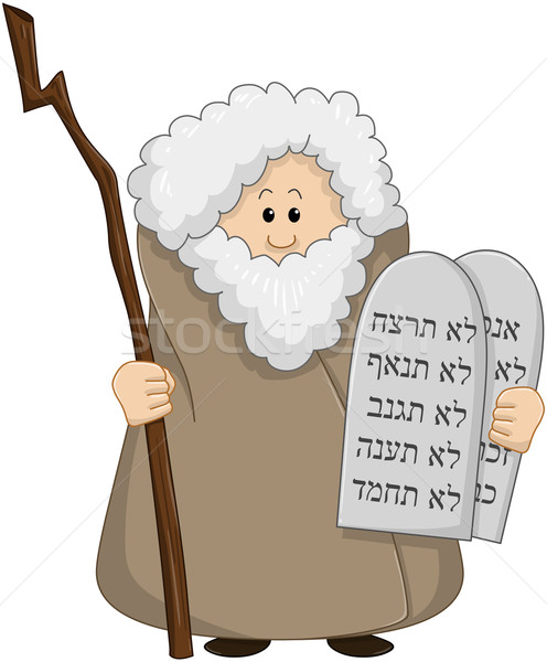 Moses Holding The Ten Commandments Stock photo © LironPeer