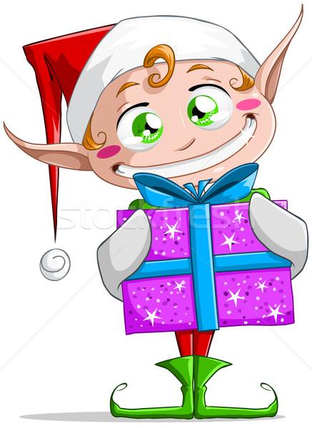 Рождества эльф настоящее улыбаясь улыбка Сток-фото © LironPeer