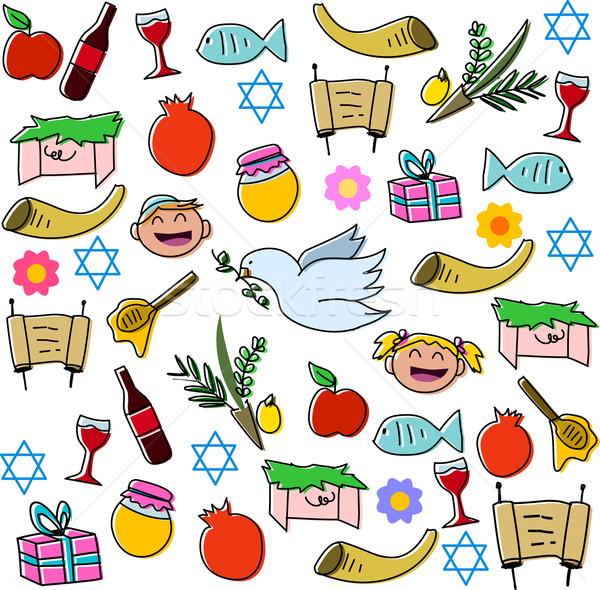Rosh Hashanah Holidays Symbols Pack Stock photo © LironPeer