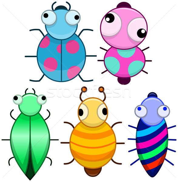 Grappig kleurrijk cute weinig bugs pack Stockfoto © LironPeer