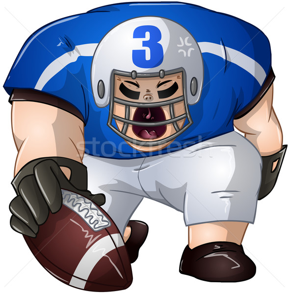 Blue White Football Player Kneels and Holds Ball Stock photo © LironPeer
