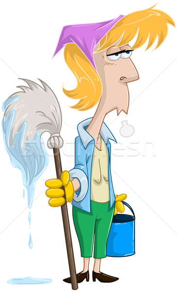 Stock photo: Tired Woman With Mop And Bucket