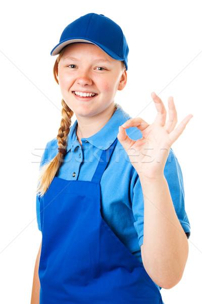 Première Emploi ok adolescente signe isolé Photo stock © lisafx
