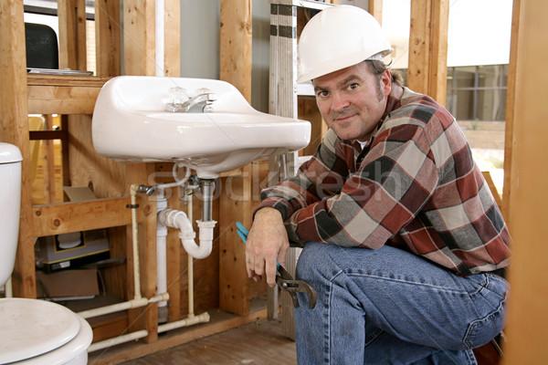Photo stock: Construction · plombier · salle · de · bain · luminaires · maison