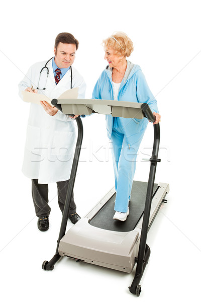 Arzt Senior Fitness Frau Laufband Stock foto © lisafx