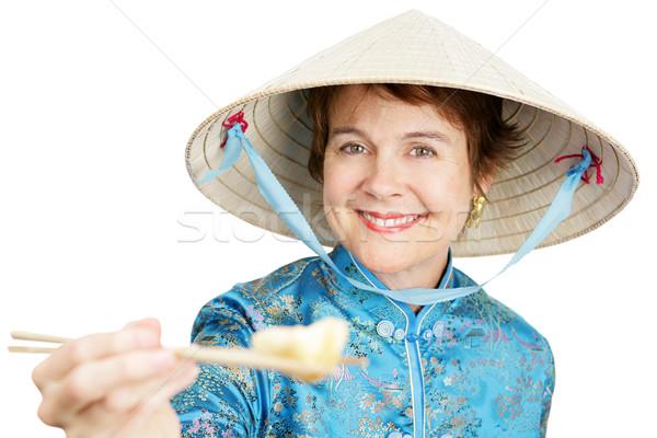 Bijten toeristische chinese knoedel camera Stockfoto © lisafx