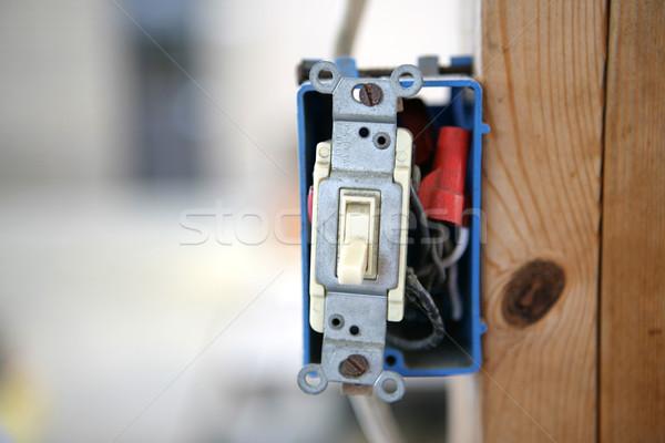 Paal lichtschakelaar houten balk horizontaal kamer Stockfoto © lisafx