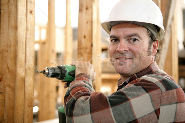 Stock photo: Carpenter Drilling Wood