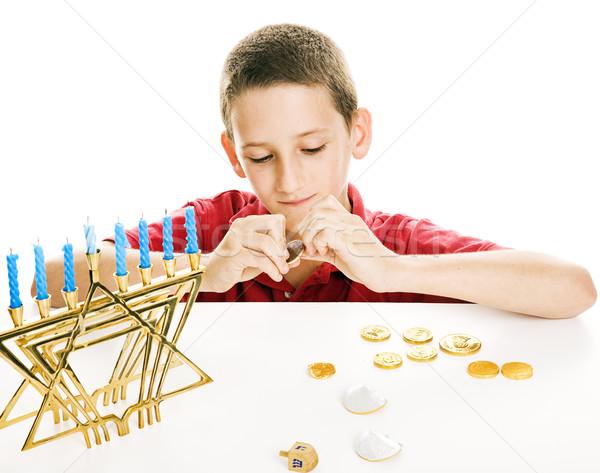 Eating Hanukkah Gelt Stock photo © lisafx