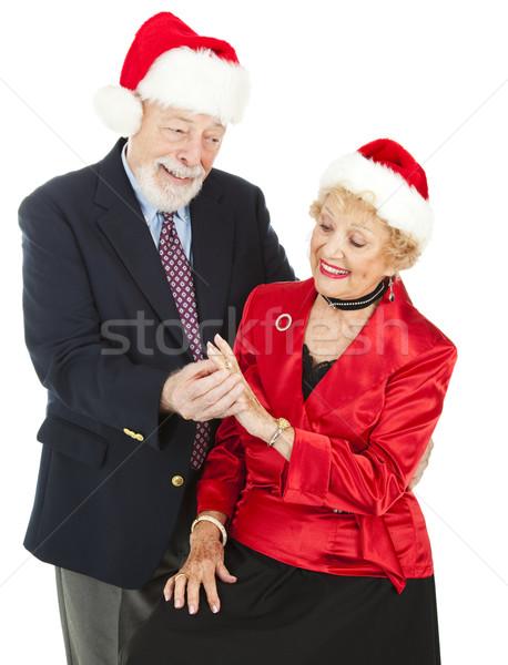 ünnep gyémántgyűrű jóképű idős férfi feleség Stock fotó © lisafx