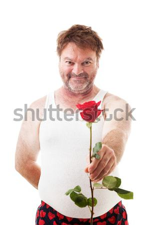 Scruffy Lover with One Rose Stock photo © lisafx
