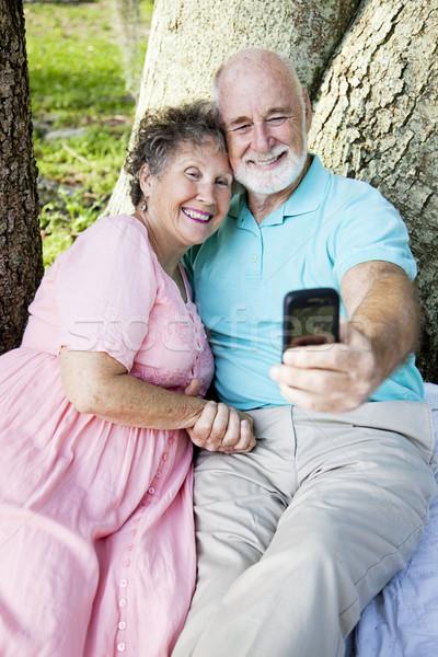 Seniors E-mail Self-Portrait Stock photo © lisafx