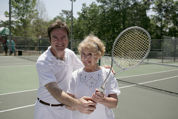 Active Senior With Tennis Pro Stock photo © lisafx