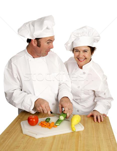 Szakács osztály bohóc kettő séfek nevet Stock fotó © lisafx