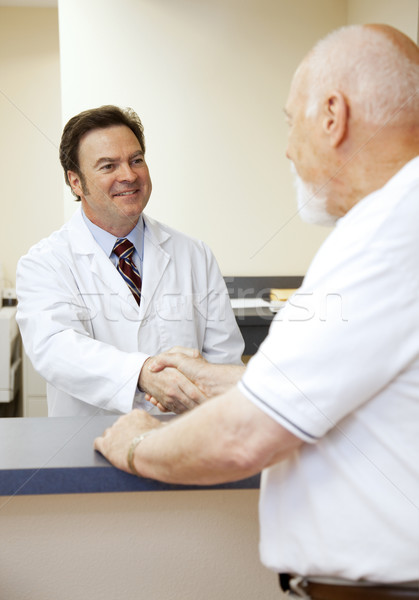 Foto stock: Médico · paciente · amistoso · saludo · nuevos · frente