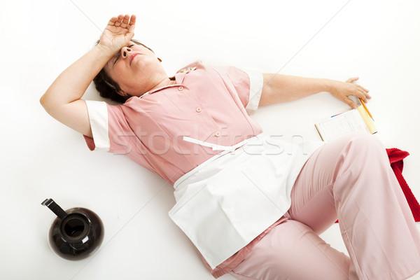 Wyczerpany kelnerka piętrze wyczerpanie restauracji pracy Zdjęcia stock © lisafx