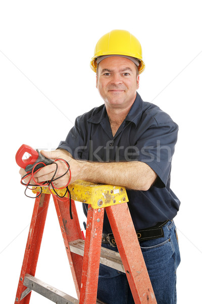 Friendly Electrician Isolated Stock photo © lisafx