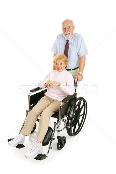 Idős házastárs férfi toló feleség tolószék Stock fotó © lisafx