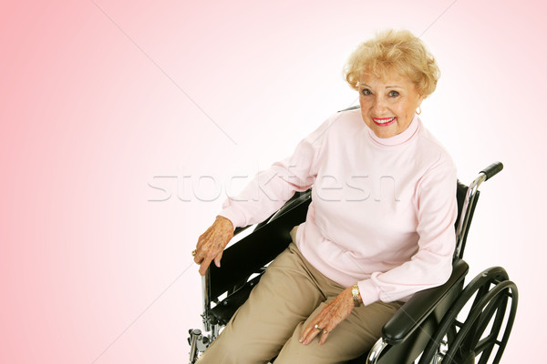 Stock fotó: Idős · hölgy · tolószék · rózsaszín · csinos · nő
