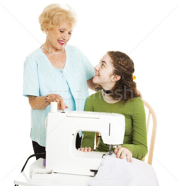помочь бабушки обучения изолированный белый Сток-фото © lisafx