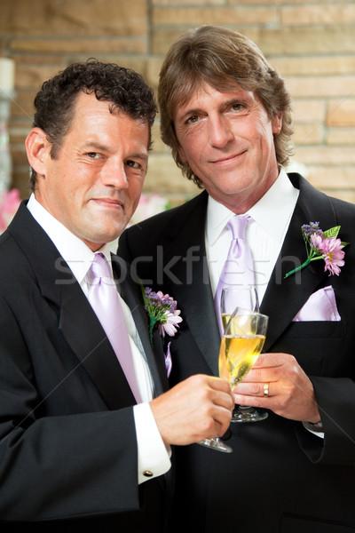 Homoszexuális pár esküvői fogadás jóképű ad pezsgő Stock fotó © lisafx