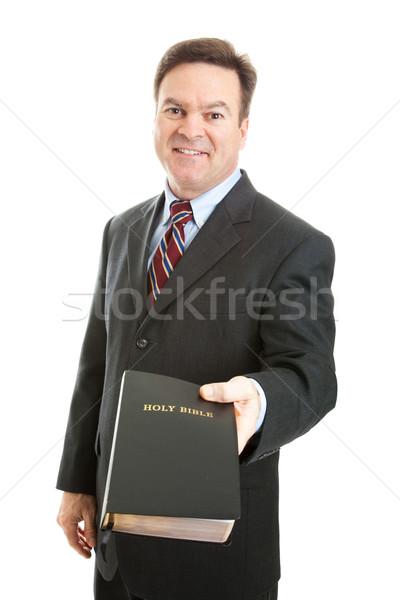 Keresztény férfi Biblia üzletember miniszter tart Stock fotó © lisafx
