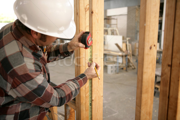 Construction Electrician Measuring Stock photo © lisafx
