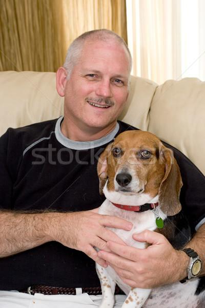 Melhor amigo retrato atraente homem bigle cão Foto stock © lisafx