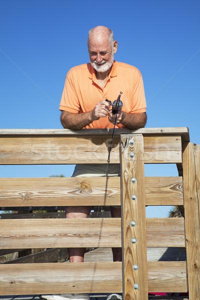Photo stock: Supérieurs · pêcheur · retraite · homme · pêche