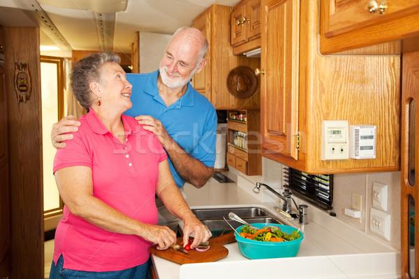 Seniors RV - Romance in Kitchen Stock photo © lisafx