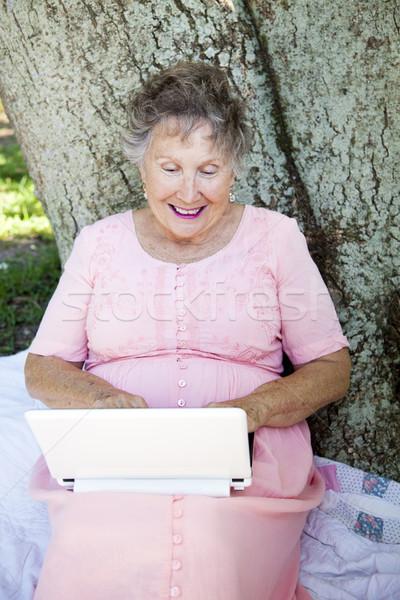 Idős számítástechnika jókedv nő netbook számítógép Stock fotó © lisafx