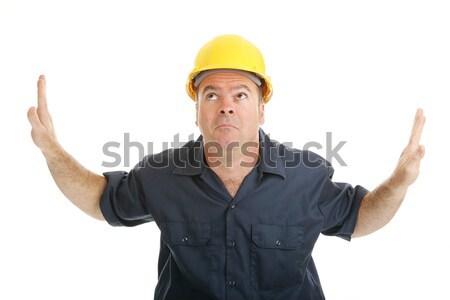 Travailleur de la construction excitation enthousiaste travailleur up Photo stock © lisafx