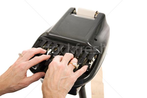 Bíróság közelkép kezek gépel gép izolált Stock fotó © lisafx